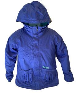 BURTON Purple Charm Jacket Girl's Sz L 10-12 Aqua Ski Snowboard Snow Hooded