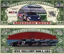 Nascar American Racer Million Dollar Bill Funny Money Novelty Note + FREE SLEEVE