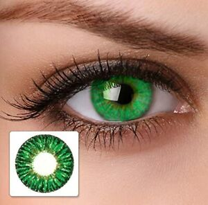 Beautiful zero power Eye lens for Parties& occasionally& ,Dark Green Color
