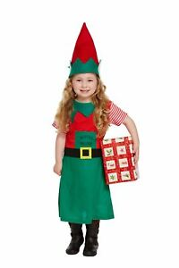 Girls Childrens Santas Little Helper Christmas Elf Fancy Dress Costume Age 3