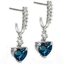 1.88 CARAT TW LONDON BLUE TOPAZ & DIAMOND 10KT SOLID WHITE GOLD HEART EARRINGS