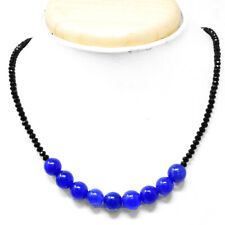 75.00 Cts Earth Mined Faceted Black Spinel & Sapphire Beads Necklace NK 27E60