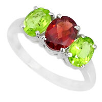 925 Silver 5.07cts Natural Red Garnet Oval Green Peridot Ring Size 8.5 R84072