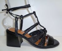 H by Halston Size 6.5 PIPER Black Leather Braided Heels Sandals New Womens Shoes
