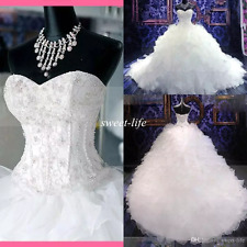 Crystals Wedding Dresses Sweetheart Beads Organza Cathedral Train Bridal Gown