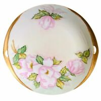 Vintage Pink Wild Roses Gold Porcelain Handled Cake Plate Hand Painted PRETTY