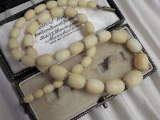 VICTORIAN ANTIQUE CHINESE CANTONESE CARVED BOVINE BONE BEAD NECKLACE