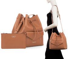 NWT Lancaster Paris Pur Smooth Envelope Leather Bucket Shoulder Bag Hazel Brown