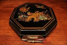 """Unique Vintage Octagonal Lacquer Box with Bird and Flower Scene Chinese Text 9"""""""