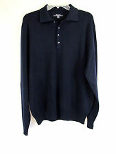 EUC Faconnable Mens Navy Blue Merino Wool Sweater henley B1 designed in France L