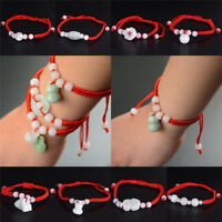 Jade Beads Red String Rope Bracelet Good Luck Lucky Success Moral Amulet VvVEC