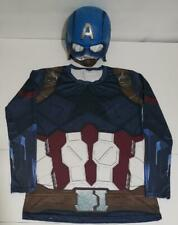MENS MARVEL AVENGERS CAPTAIN AMERICAN COSTUME SHIRT TOP AND RUBIES MASK S M