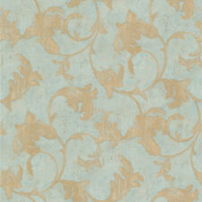 TE29309 - Texture Style Antique look flowers Blue Gold Galerie Wallpaper