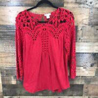 Sundance Women's Red Open Wave Lace Long Sleeve Round Hem Top Size Medium