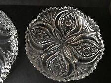Pressglas Dessertteller  6er Set mit Zackenrand und mit sehr schönem Dekor