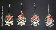 PLAUENER SPITZE ® 4er Set Fensterbild WINTER Deko GLOCKE Weihnachten BAUMBEHANG