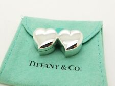 TIFFANY & CO. Sterling Silver Double Hearts Small  Hinged Pill Box Trinket