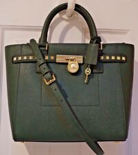 NWT MICHAEL KORS $498 HAMILTON TRAVELER STUD LG Satchel Tote Bag MOSS Leather