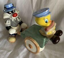 Tweety Bird and Sylvester Salt and Pepper Shaker set 1994 Tweety On Hotdog Cart
