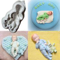 3D Sleeping Baby Bear Silicone Fondant Cake Mould Chocolate Jelly Boy Mold Decor
