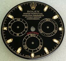 @@CUSTOM MADE DIAL FOR ROLEX DAYTONA IN BLACK WITH GOLD INDEXES@@