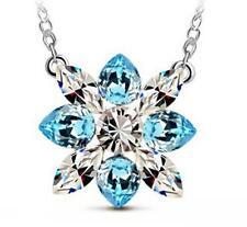 Fashion Womens Sky Blue Crystal Rhinestone Silver Chain Pendant Necklace Charm
