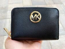 Michael Kors Fulton Coin Case Small Wallet Pebble Leather Black