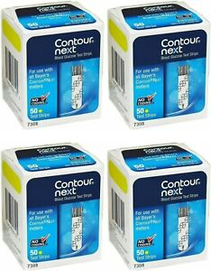 200 Contour Next Test Strips 4 Boxes of 50 Exp in 2022--Freaky Fast Shipping!!!