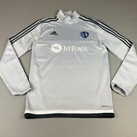 Men's Small Adidas Sporting KC Soccer Quarter Zip Jersey Shirt Long Sleeve Gray