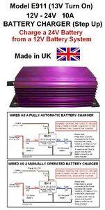 BATTERY CHARGER 12V to 24V 10AMP / 240W DC-DC STEP UP (Model E911 13V Turn On)