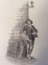 Musicien de rue mendiant dessin circa 1870 anonyme ? musique