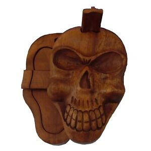 Fair Trade Hand Carved Wooden Wood Skull Secret 3D Puzzle Box, Gothic, Pagan
