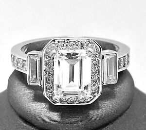 .925 Sterling Silver 2.00ct Emerald Cut Diamonique Diamond Anniversary Ring