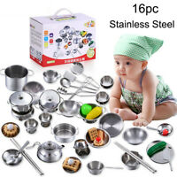 16Pcs Kids Play House Kitchen Toys Cookware Cooking Utensils Pots Pans Gift New