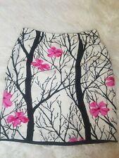 Women's Elements G Black/Pink Floral Print Skirt 100% silk Size 10