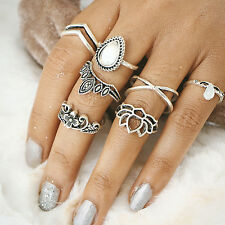 12pcs Boho Vintage Turquoise Elephant Animal Ring Set Midi Finger Knuckle Rings