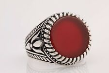 Turkish Jewelry Round Brown Agate 925 Sterling Silver Men's Ring Size 8.5