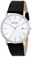 Authentic Bulova Men's Dress 96B104 Black Leather Quartz Watch