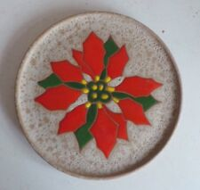 Old Stoneware Pottery Wall Decorative Plate w Lacquered Poinsettia Design Home D