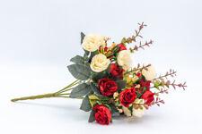 ARTIFICIAL ROSES BOUQUET - Cream & Red