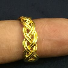 Stamped 916 Fine 22K Yellow Gold Handmade Dubai Unisex Anniversary Braided Ring