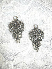 NEW CAST PEWTER CELTIC KNOT SCROLL w WOLF HEAD DANGLING CHARMS EARRINGS JEWELRY
