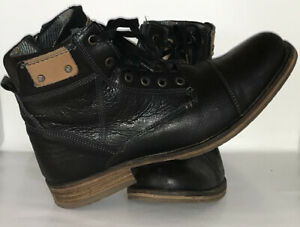 BULL BOXER Expedus Men's Ankle Boots Leather Cap Toe Lined Lace Up Zipper US 8