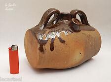 tonnelet de moissonneur en terre vernissée à glaçure brune - sarthe