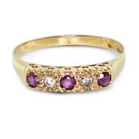 9ct Yellow Gold Ruby + Diamond Ring - Size Q (00837)