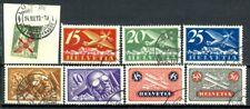 Suisse, timbres Poste Aérienne N° 2 à 9 oblitérés, TB
