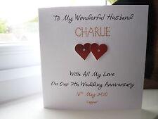 Hecho a mano personalizado de cobre 7th tarjeta de aniversario de bodas esposo esposa Par