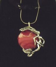NWT Kalos by Hagit Sterling Silver Pink Glass Dancer Pendant Necklace