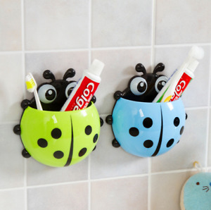 Cartoon Ladybug Cute Plastic Sucker Toothbrush Holder Suction Hook Cup Stand
