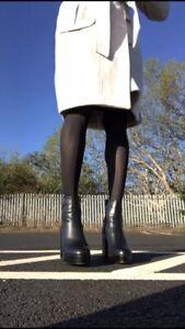 Carvela Kurt Geiger Black Leather High Heel Boots Size Uk8 Euro41